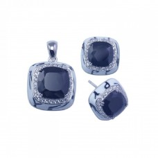 **Closeout** Wholesale Sterling Silver 925 Rhodium Plated Square Black CZ Stud Earring and Necklace Set - STS00253