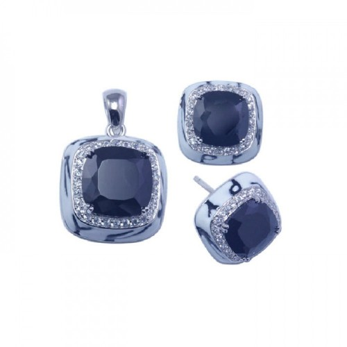 -Closeout- Wholesale Sterling Silver 925 Rhodium Plated Square Black CZ Stud Earring and Necklace Set - STS00253