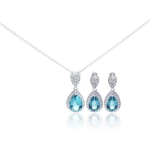 Wholesale Sterling Silver 925 Rhodium Plated Blue CZ Dangling Stud Earring and Necklace Set - STS00257BL