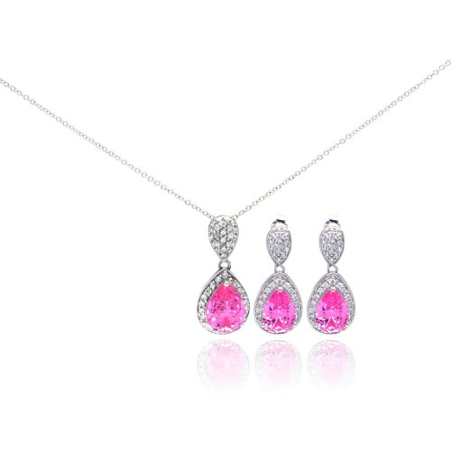 Wholesale Sterling Silver 925 Rhodium Plated Pink Teardrop CZ Dangling Stud Earring and Necklace Set - STS00257-PNK