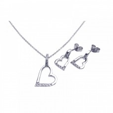 Wholesale Sterling Silver 925 Rhodium Plated Open Heart CZ Stud Earring and Necklace Set - STS00260
