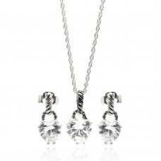 Sterling Silver Rhodium Plated Heart CZ Dangling Stud Earring & Necklace Set sts00261