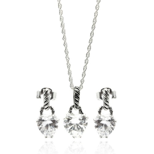 Wholesale Sterling Silver 925 Rhodium Plated Heart CZ Dangling Stud Earring and Necklace Set - STS00261