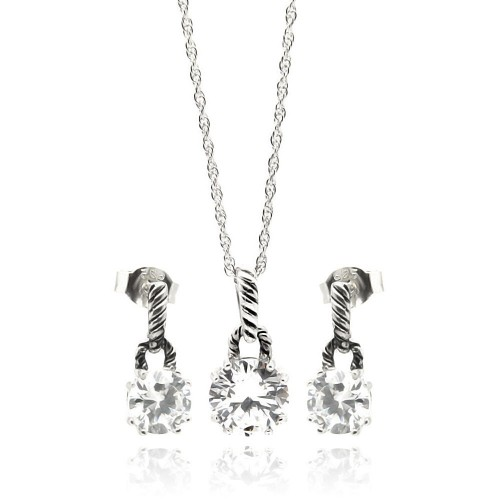 Wholesale Sterling Silver 925 Rhodium Plated Round CZ Dangling Stud Earring and Necklace Set - STS00262
