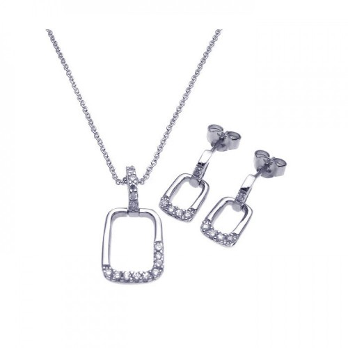 Wholesale Sterling Silver 925 Rhodium Plated Open Square CZ Dangling Stud Earring and Necklace Set - STS00263