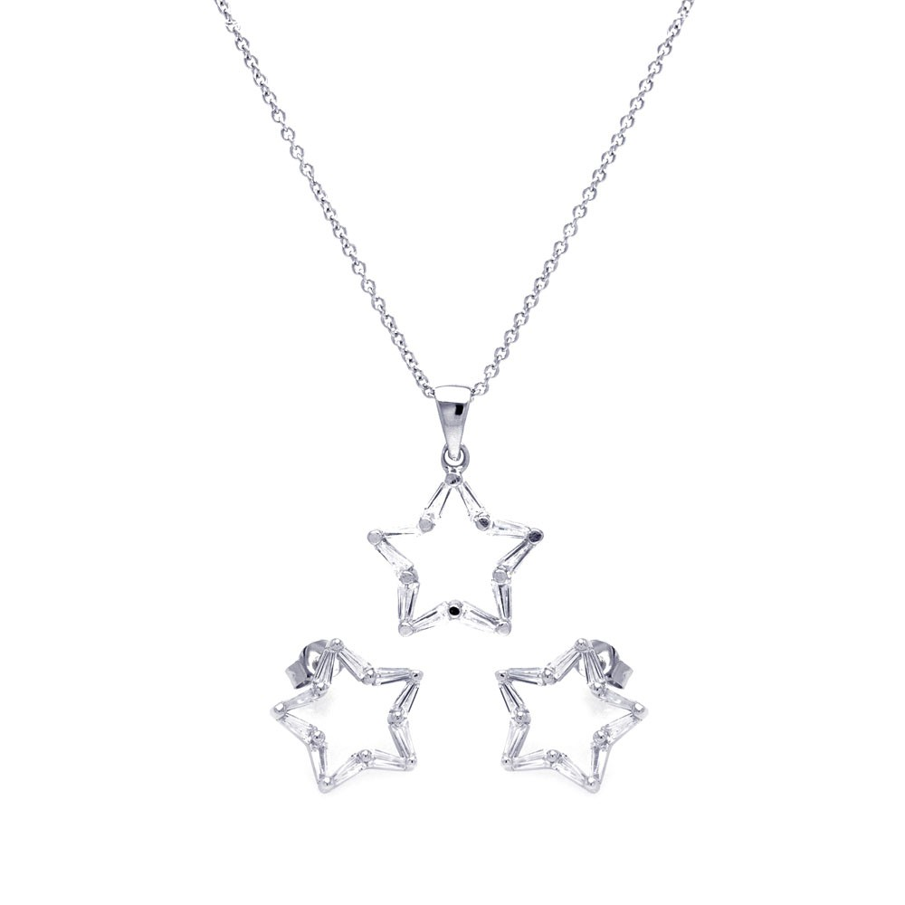 Wholesale Sterling Silver 925 Rhodium Plated Open Star CZ Stud Earring and Necklace Set - STS00266