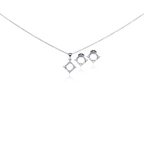 Wholesale Sterling Silver 925 Rhodium Plated Open Square CZ Stud Earring and Necklace Set - STS00267
