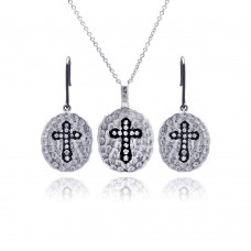 Wholesale Sterling Silver Black and Rhodium Plated Round Black Cross CZ Inlay Dangling Hook Earring and Necklace Set - STS00268