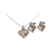 **Closeout** Wholesale Sterling Silver 925 Rhodium Plated Heart Champagne CZ Set - STS00270CH