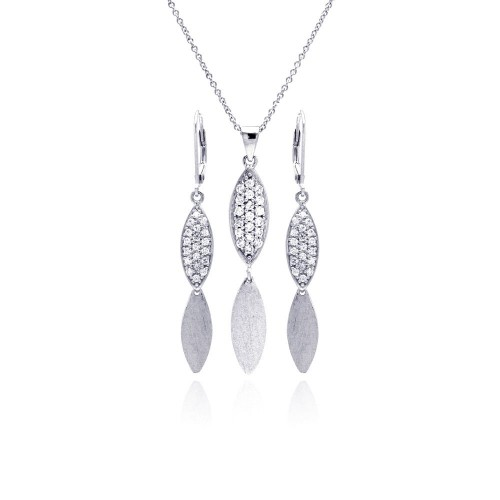 -CLOSEOUT- Wholesale Sterling Silver 925 Rhodium Plated Marquis CZ Dangling Lever Back Earring and Necklace Set - STS00271