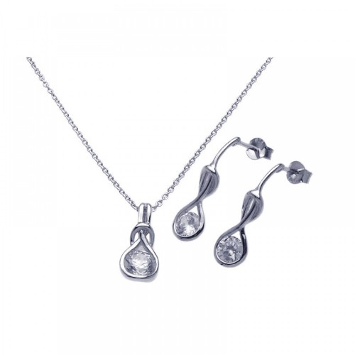 Wholesale Sterling Silver 925 Rhodium Plated Twisted Circle Round Clear CZ Stud Earring and Necklace Set - STS00273