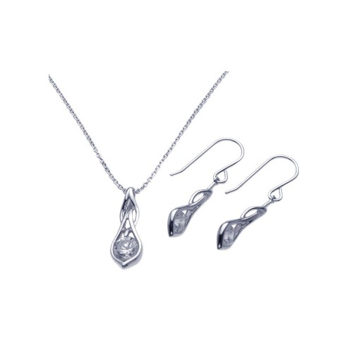 Wholesale Sterling Silver Rhodium 925 Plated Teardrop Clear CZ Dangling Hook Earring and Necklace Set - STS00274