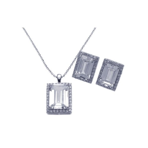 Wholesale Sterling Silver 925 Rhodium Plated Square CZ Stud Earring and Necklace Set - STS00275CLR