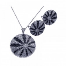 Wholesale Sterling Silver 925 Rhodium Plated Black and Clear Sun Flower CZ Stud Earring and Necklace Set - STS00276