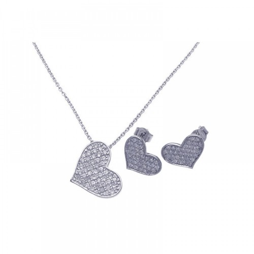 Wholesale Sterling Silver 925 Rhodium Plated Heart CZ Stud Earring and Necklace Set - STS00280