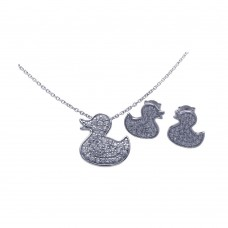 Wholesale Sterling Silver 925 Rhodium Plated Duck CZ Stud Earring and Necklace Set - STS00282