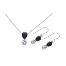 Wholesale Sterling Silver 925 Rhodium Plated Round Teardrop CZ Dangling Hook Earring and Necklace Set - STS00283