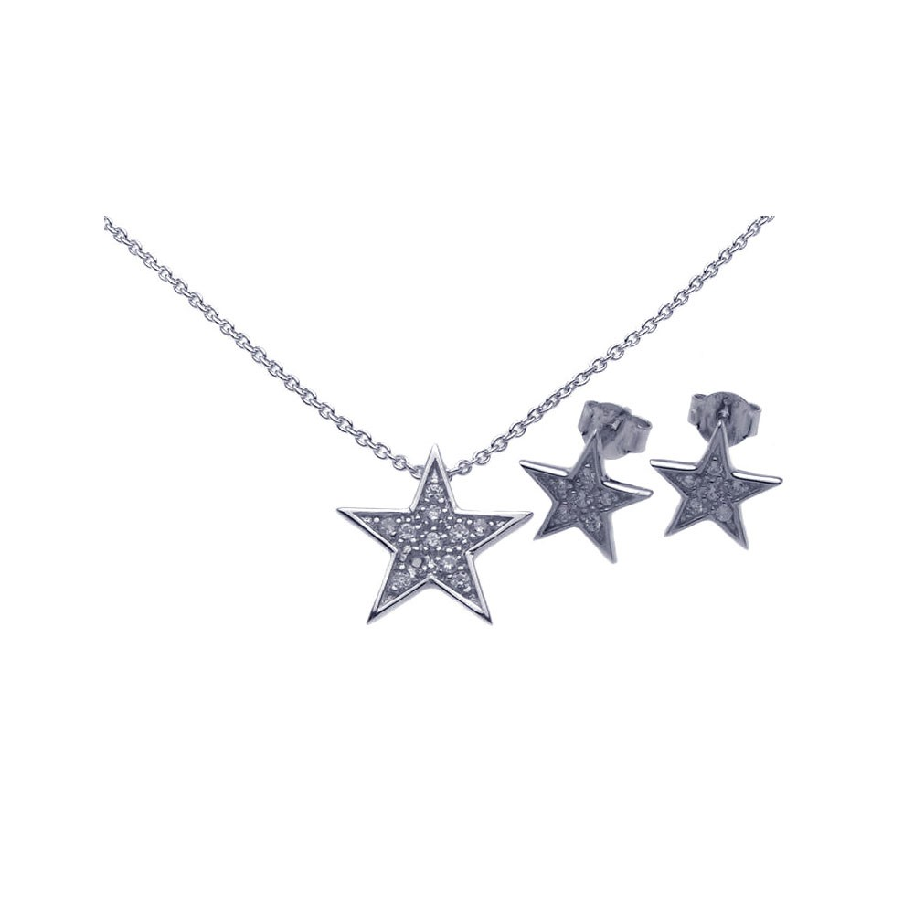 Wholesale Sterling Silver 925 Rhodium Plated Star CZ Stud Earring and Necklace Set - STS00284