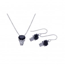 Wholesale Sterling Silver 925 Rhodium Plated Black CZ Dangling Hook Earring and Necklace Set - STS00286