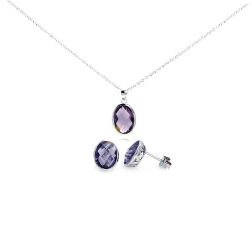 Wholesale Sterling Silver 925 Rhodium Plated Oval Purple CZ Post Earring and Necklace Set - STS00288