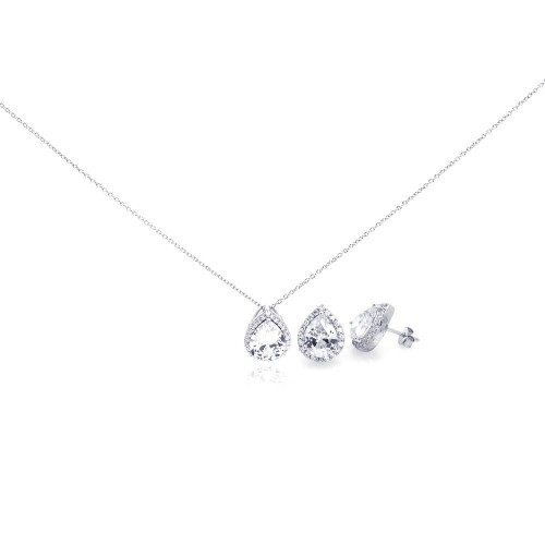 Wholesale Sterling Silver 925 Rhodium Plated Clear Teardrop CZ Stud Earring and Necklace Set - STS00290