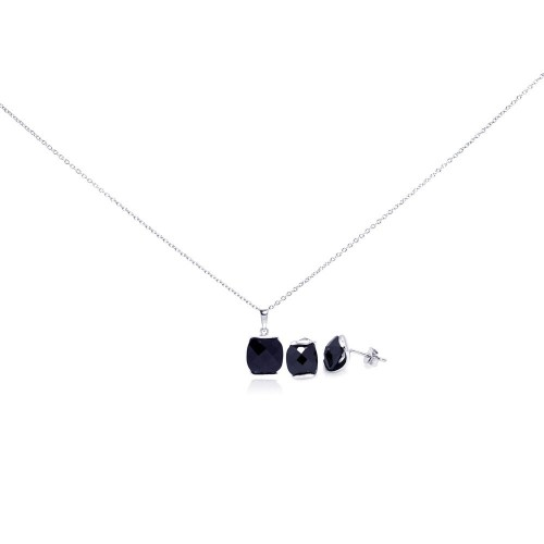 Wholesale Sterling Silver 925 Rhodium Plated Square Black CZ Stud Earring and Necklace Set - STS00291