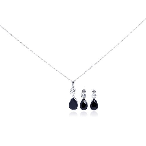 Wholesale Sterling Silver 925 Rhodium Plated Teardrop Black CZ Stud Earring and Necklace Set - STS00293