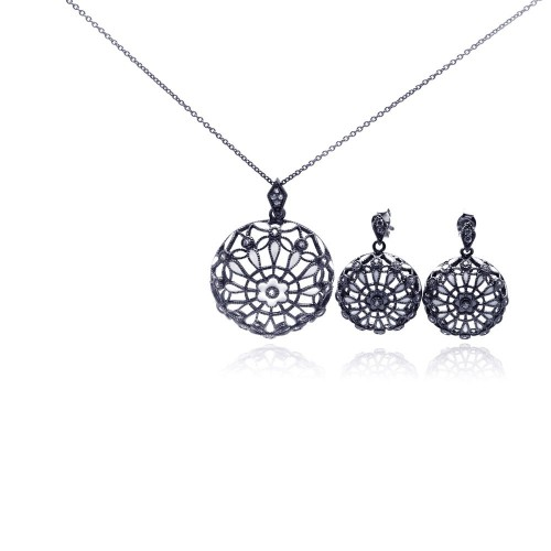 -Closeout- Wholesale Sterling Silver 925 Rhodium Plated Flower Round Black CZ Dangling Stud Earring and Necklace Set - STS00294