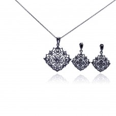 **Closeout** Wholesale Sterling Silver 925 Rhodium Plated Flower Black CZ Dangling Earring and Necklace Set - STS00295