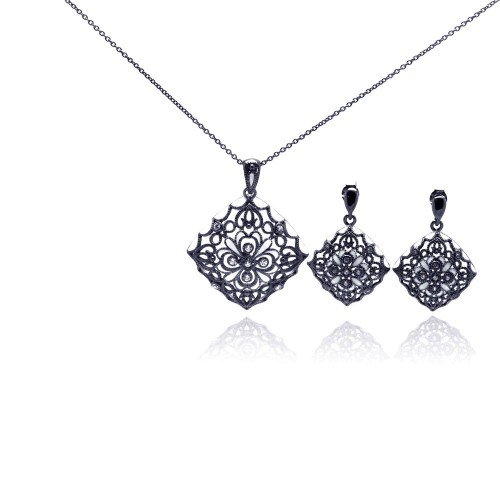 -Closeout- Wholesale Sterling Silver 925 Rhodium Plated Flower Black CZ Dangling Earring and Necklace Set - STS00295