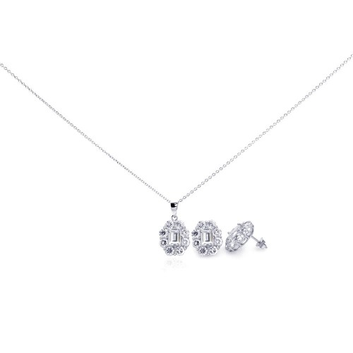 Wholesale Sterling Silver 925 Rhodium Plated Round CZ Stud Earring and Necklace Set - STS00296