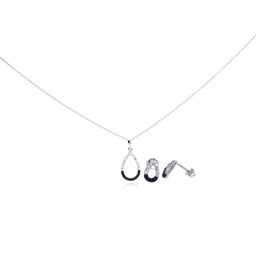 Wholesale Sterling Silver 925 Rhodium Plated Open Teardrop CZ Stud Earring and Necklace Set - STS00297