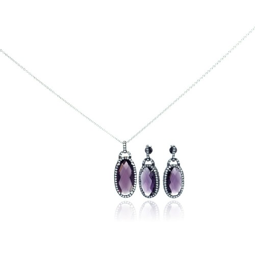 Wholesale Sterling Silver 925 Rhodium Plated Oval Purple CZ Dangling Stud Earring and Necklace Set - STS00301
