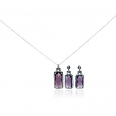 Wholesale Sterling Silver 925 Rhodium Plated Purple Rectangle CZ Dangling Stud Earring and Necklace Set - STS00302
