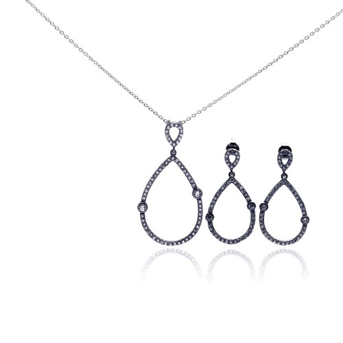 -Closeout- Wholesale Sterling Silver 925 Rhodium Plated Open Teardrop CZ Dangling Stud Earring and Necklace Set - STS00303