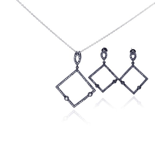 -Closeout- Wholesale Sterling Silver 925 Rhodium Plated Open Square Black CZ Dangling Earring and Necklace Set - STS00304