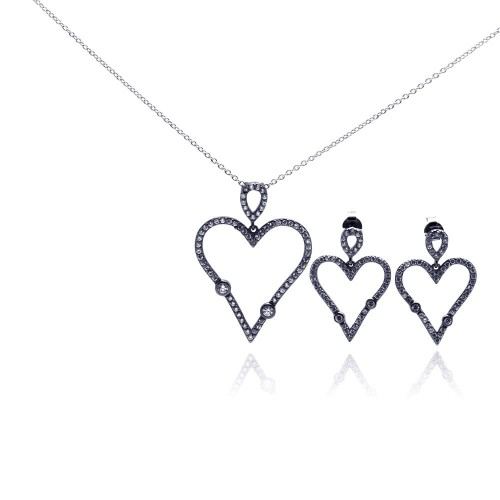 -Closeout- Wholesale Sterling Silver 925 Rhodium Plated Open Heart CZ Dangling Stud Earring and Necklace Set - STS00305