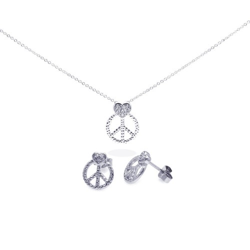 Wholesale Sterling Silver 925 Rhodium Plated Open Peace Sign CZ Stud Earring and Necklace Set - STS00306