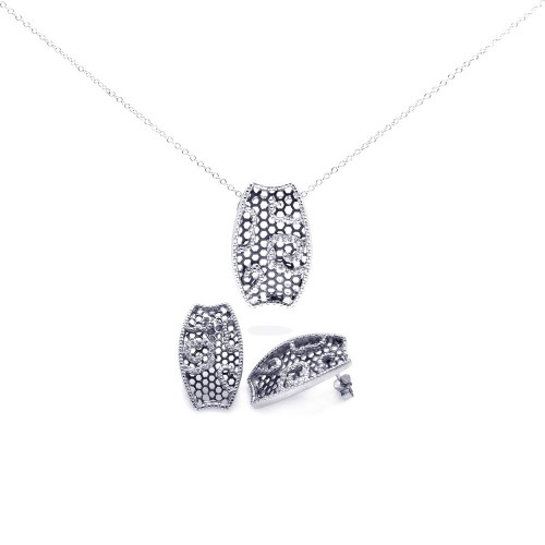 -Closeout- Wholesale Sterling Silver 925 Rhodium Plated Mesh Flower CZ Stud Earring and Necklace Set - STS00307