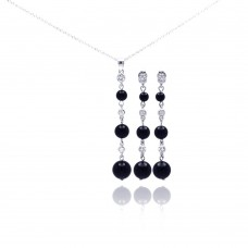 **Closeout** Wholesale Sterling Silver 925 Rhodium Plated Graduated Black Onyx Clear CZ Dangling Stud Earring and Necklace Set - STS00308