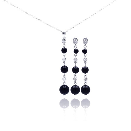 -Closeout- Wholesale Sterling Silver 925 Rhodium Plated Graduated Black Onyx Clear CZ Dangling Stud Earring and Necklace Set - STS00308