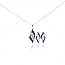Wholesale Sterling Silver 925 Rhodium Plated Black and Clear Stripe CZ Stud Earring and Necklace Set - STS00311