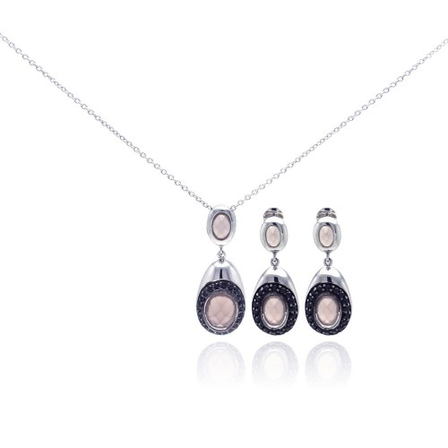 -Closeout- Wholesale Sterling Silver 925 Rhodium Plated Teardrop Black CZ Dangling Stud Earring and Necklace Set - STS00312