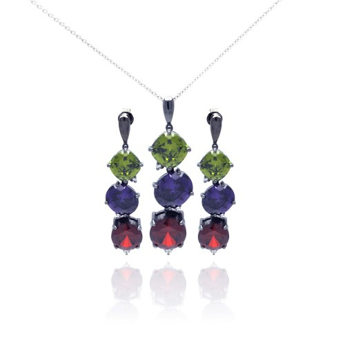Wholesale Sterling Silver 925 Rhodium Plated Multiple Color Round CZ Dangling Earring and Necklace Set - STS00314