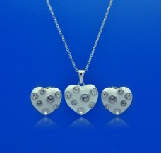 **Closeout** Wholesale Sterling Silver 925 Rhodium Plated Heart White Enamel Clear CZ Stud Earring and Necklace Set - STS00315