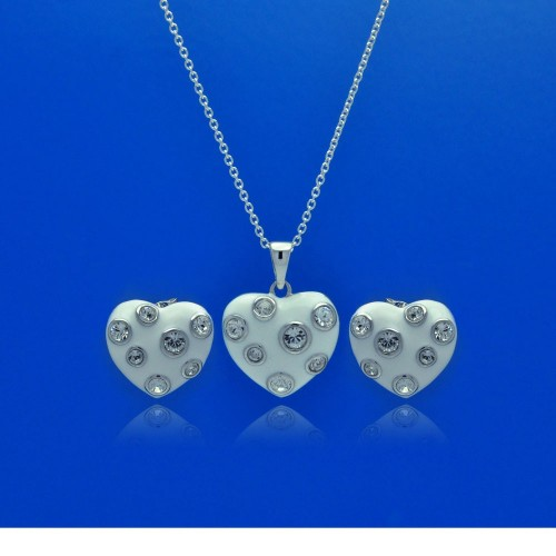 -Closeout- Wholesale Sterling Silver 925 Rhodium Plated Heart White Enamel Clear CZ Stud Earring and Necklace Set - STS00315