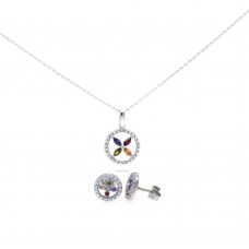 Wholesale Sterling Silver Rhodium Plated Open Circle Multicolor Flower CZ Stud Earring and Necklace Set - STS00319