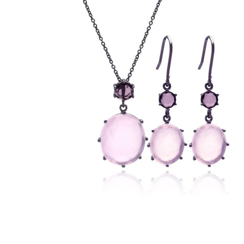 -Closeout- Wholesale Sterling Silver 925 Rhodium Plated Light Pink Round CZ Dangling Hook Earring and Necklace Set - STS00320