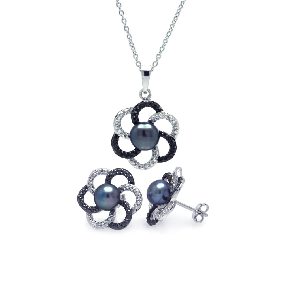 Wholesale Sterling Silver 925 Rhodium Plated 2 Toned Open Flower CZ  Fresh Water Black Pearl Set - STS00338
