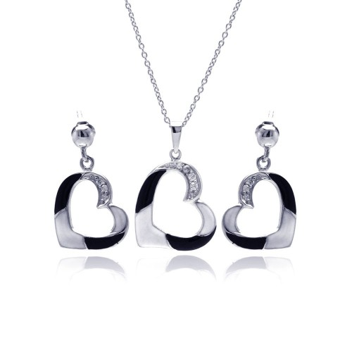 -Closeout- Wholesale Sterling Silver 925 Black Rhodium Plated Open Heart CZ Dangling Set - STS00339